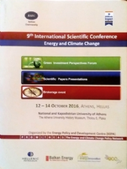 Participation of Mr. Miltiadis Makrygiannis, PABSEC Deputy Secretary General, to the 9th International Scientific Conference on Energy and Climate Change, Athens, 12-14 October 2016